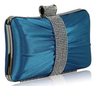 LSE0048 - Wholesale & B2B Gorgeous Blue Crystal Strip Clutch Evening Bag Supplier & Manufacturer