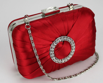 LSE0071 - Red Gorgeous Satin Rouched Brooch Hard Case Red Evening Bag