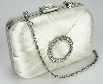 LSE0071 - Ivory Gorgeous Satin Rouched Brooch Hard Case Ivory Evening Bag