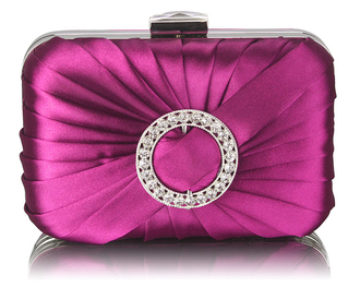 LSE0071 - Purple Gorgeous Satin Rouched Brooch Hard Case Purple Evening Bag