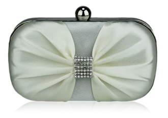 LSE00112-Ivory Satin Clutch purse