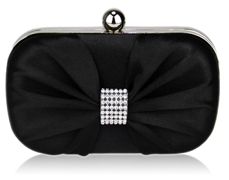 LSE00112-Black Satin Clutch purse