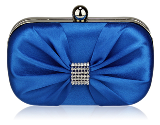 LSE00112-Blue Satin Clutch purse