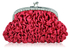 LSE00118- Pink Sparkly Crystal Satin Clutch purse