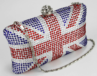 LSE00120- Wholesale & B2B Women's Union Jack Box Clutch With Crystal Clasp Supplier & Manufacturer