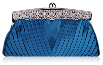 LSE00111 - Teal  Ruched Satin Clutch With Crystal Decoration