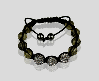 LSB008-Grey Shamballa Bracelet Crystal-Disco Ball Friendship Bead
