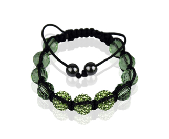 LSB008-Green Shamballa Bracelet Crystal-Disco Ball Friendship Bead