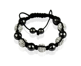 LSB009-White Shamballa Bracelet Crystal-Disco Ball Friendship Bead
