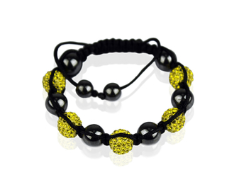 LSB009-Yellow Shamballa Bracelet Crystal-Disco Ball Friendship Bead