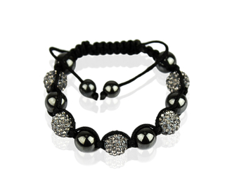 LSB009-Grey Shamballa Bracelet Crystal-Disco Ball Friendship Bead