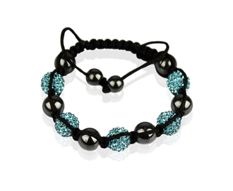 LSB009-Teal Shamballa Bracelet Crystal-Disco Ball Friendship Bead