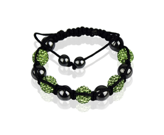 LSB009-Green Shamballa Bracelet Crystal-Disco Ball Friendship Bead