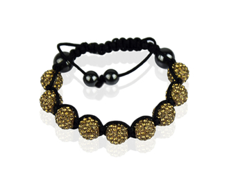 LSB0011-Wholesale & B2B Coffee Shamballa Bracelet Crystal-Disco Ball Friendship Bead Supplier & Manufacturer