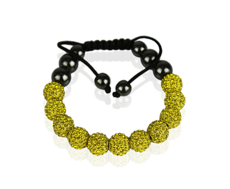 LSB0013-Yellow Shamballa Bracelet Crystal-Disco Ball Friendship Bead