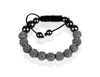 LSB0013-Grey Shamballa Bracelet Crystal-Disco Ball Friendship Bead