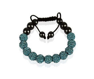 LSB0013-Teal Shamballa Bracelet Crystal-Disco Ball Friendship Bead