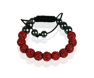 LSB0013-Red Shamballa Bracelet Crystal-Disco Ball Friendship Bead