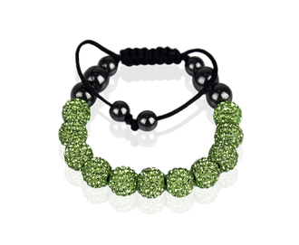 LSB0013-Green Shamballa Bracelet Crystal-Disco Ball Friendship Bead