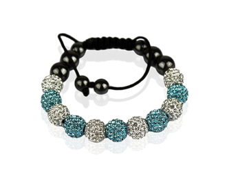 LSB0013-White/Teal Shamballa Bracelet Crystal-Disco Ball Friendship Bead