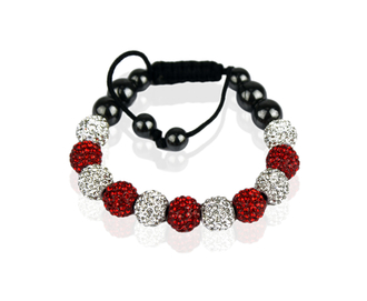 LSB0013-White/Red Shamballa Bracelet Crystal-Disco Ball Friendship Bead