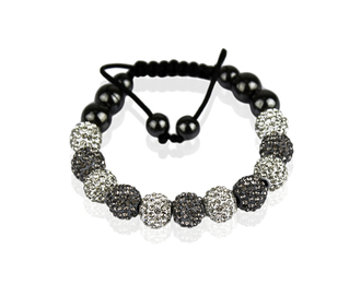 LSB0013-White/Grey Shamballa Bracelet Crystal-Disco Ball Friendship Bead