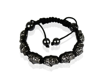 LSB0016-Black Skull Crystal  Beads Bracelet