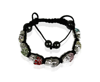 LSB0016-Multi Coloured Skull Crystal  Beads Bracelet