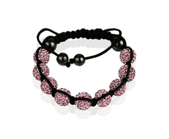 LSB0011-Pink Shamballa Bracelet Crystal-Disco Ball Friendship Bead