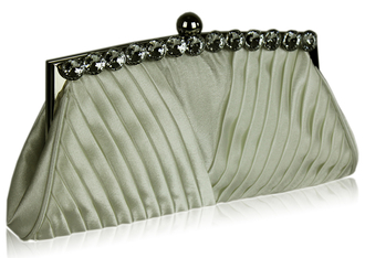 LSE00127 - Ivory Ruched Satin Clutch With Crystal Decoration