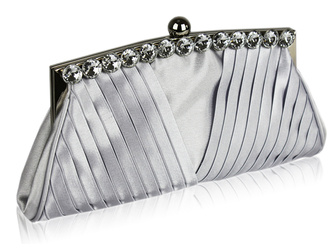 LSE00127 - Silver Ruched Satin Clutch With Crystal Decoration
