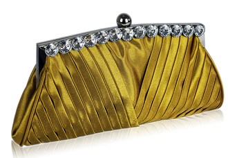 LSE00127 - Gold Ruched Satin Clutch With Crystal Decoration