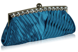LSE00127 - Royal Blue Ruched Satin Clutch With Crystal Decoration