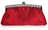 LSE00127 - Red Ruched Satin Clutch With Crystal Decoration