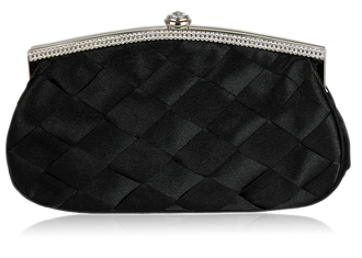 LSE00128 - Gorgeous Black Satin Crystal Evening Bag