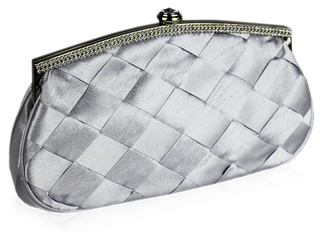 LSE00128 - Gorgeous Silver Satin Crystal Evening Bag