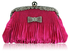 LSE00129 - Pink Ruched Satin Clutch With Crystal Decoration