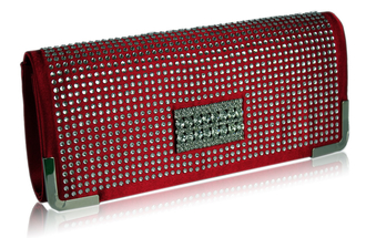 LSE00130 - Red Evening Clutch With Crystal Decoration