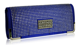 LSE00130 - Blue Evening Clutch With Crystal Decoration