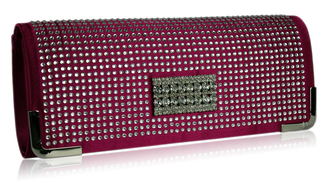 LSE00130 - Pink Evening Clutch With Crystal Decoration