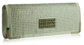 LSE00130 - Ivory Evening Clutch With Crystal Decoration