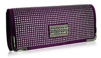 LSE00130 - Purple Evening Clutch With Crystal Decoration