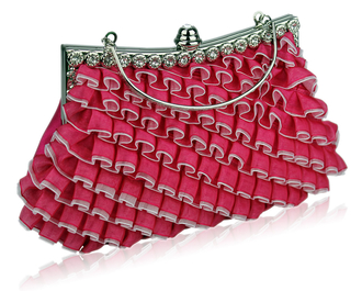 LSE00132- Pink Sparkly Crystal Satin Clutch purse