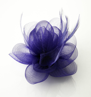 LSH0035- Purple Feather and Mesh Fascinator on Clip