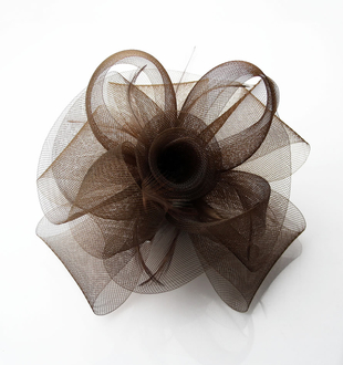 LSH0046 - Coffee Feather and Mesh Fascinator