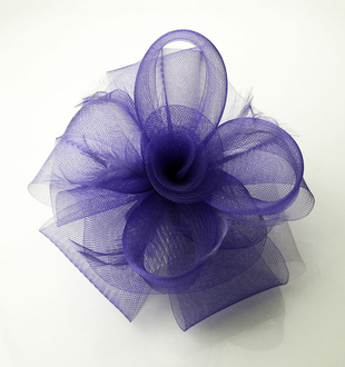 LSH0046 - Purple Feather and Mesh Fascinator