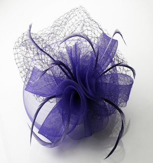 LSH0044 - Purple Feather and Mesh Fascinator on Comb