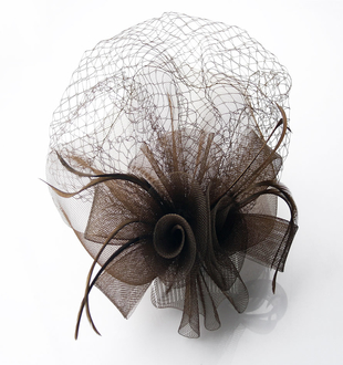LSH0044 - Coffee Feather and Mesh Fascinator on Comb