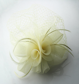 LSH0044 - Beige Feather and Mesh Fascinator on Comb