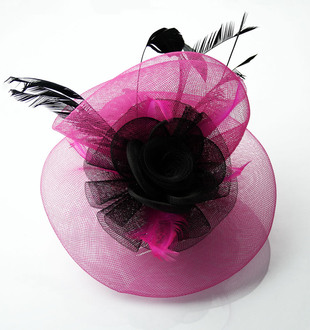 LSH0048 - Black/Pink Feather and Flower Fascinator on Comb